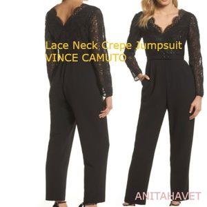 Vince Camuto Lace Neck Jumpsuit Black Size
